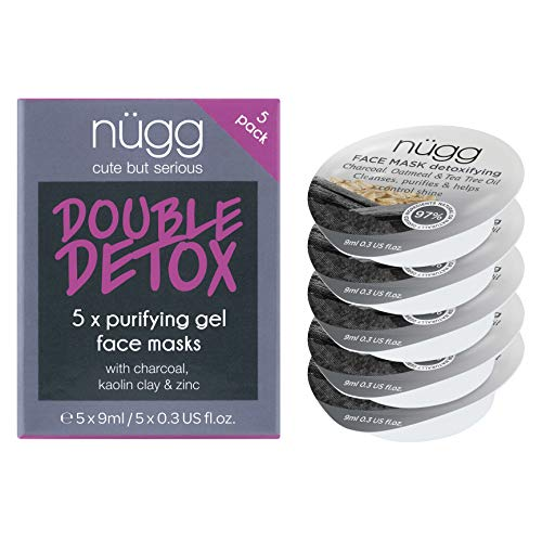 nügg Detoxifying Charcoal Face Mask; Deeply Cleanses Pores, Detoxes & Removes Excess Oil; for Normal, Oily, Combination and Acne-Prone Skin; Non-Drying Gel Formula; 5 Pack