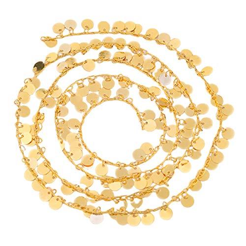 Cadena del Collar del Cable de La Cadena de La Moneda de Las Mujeres de Los Hombres, Enlace de Cable Plateado Oro de Latón
