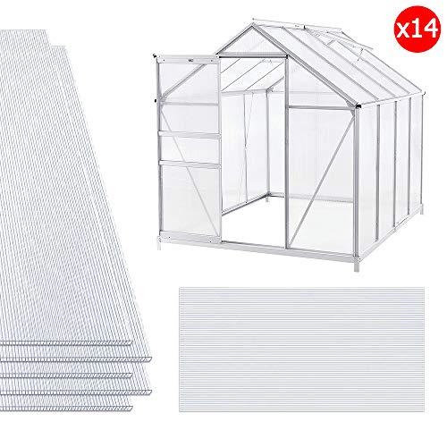 NAIZY 14x Polycarbonat Hohlkammerstegplatten, 4mm | 10,25 m² Doppelstegplatte für Gewächshaus Garten Treibhaus Ersatzplatten (60.5 x 121cm) - Transparent