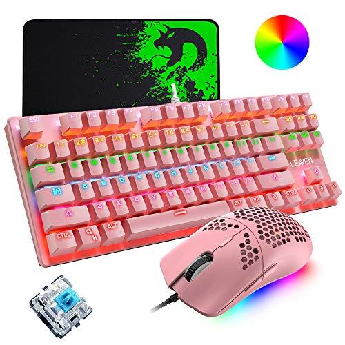 Mechanische Spieletastatur, programmierbare ultraleichte Waben-Maus mit 12000 DPI, Mäuse-Pad, rosa Schalter mit rosa Tastatur 87 Tasten, RGB-Hintergrundbeleuchtung