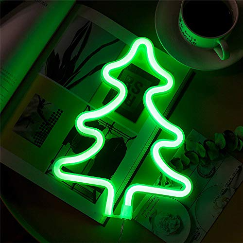 ENUOLI Baum Neon Signs Weihnachtsbaum Neonlicht Batterie und USB Operated Wand-Dekor-Kind-Raum Wohnzimmer Hochzeit Geburtstag Party-Dekoration Gartenhaus Dekoration LED Tischdekoration Licht
