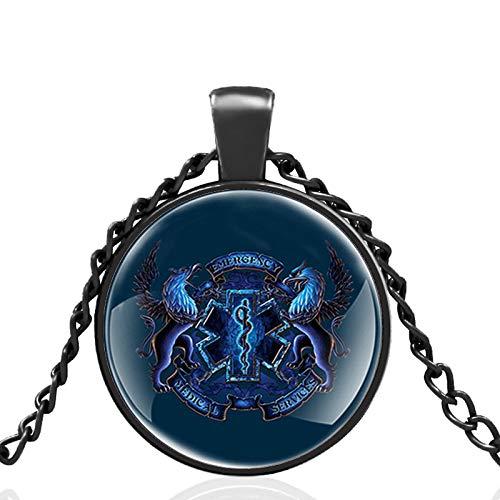 Emt Rettungsdienst Glaskuppel Metall Klassische Halskette Retro Herren Und Damen Schmuck Geschenkkette Länge 80Cm