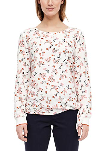 s.Oliver RED LABEL Damen Viskosebluse mit Knoten-Detail cream floral AOP 40