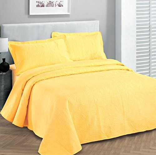 """Fancy Collection 3pc Luxury Bedspread Coverlet Embossed Bed Cover Solid Yellow New Over Size 100""""x106"""" Full/queen"""
