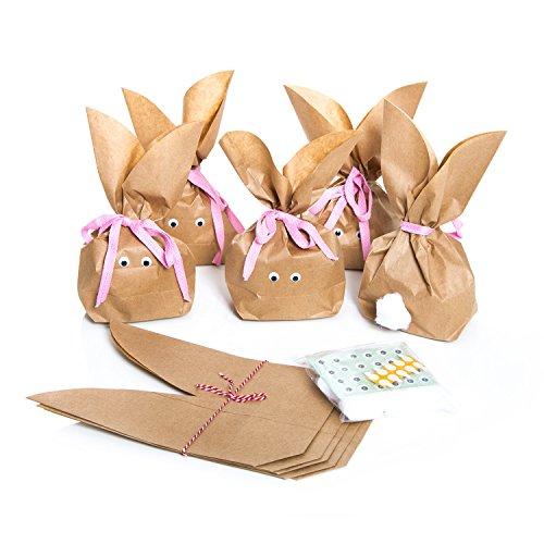 10 Stück braune natürlich lustige Osterhasen Hasen Papiertüten + pink rosa Baumwollband – Alternative zum Osternest f. Kinder + Erwachsene give-away Mitgebsel Verpackung Geschenke zu Ostern