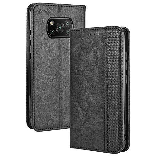 TANYO Leder Folio Hülle für Xiaomi Poco X3 Pro | X3 NFC, Premium Flip Wallet Tasche mit Kartensteckplätzen, PU/TPU Lederhülle Handyhülle Schutzhülle - Schwarz