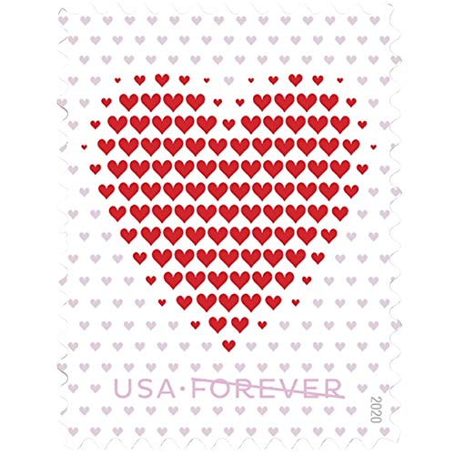 Made of Hearts Sheets of 20 Forever First Class Postage Stamps Wedding Celebration Love Valentines (2 Sheets of 20)