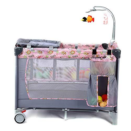 BCB Lit de Voyage Berceau Portable Lit de bébé lit Pliant lit de bébé lit bébé, deuxième Niveau pour Les bébés/bébés, Poche de Rangement, Sac de Transport, Pink