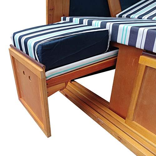 BRAST Strandkorb Deluxe 2-Sitzer XXL für 2 Personen 120cm breit mehrere Designs incl. Abdeckhaube Farbe Blau/Hellblau/Weiß gestreift Ostsee - 4