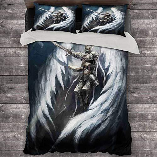 LanQiao Angel Knight White Wing - Funda de edredón extra grande de 226 x 226 cm con dos fundas de almohada