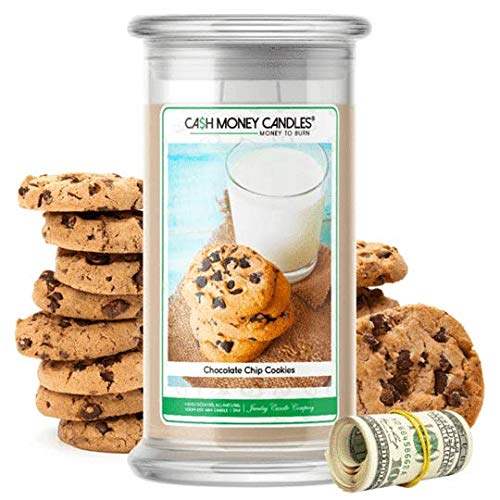 Cash Money Candles | $2-$2500 Inside | Guaranteed Rare $2 Bill | Large Long-Lasting 21oz Jar All Natural Soy Candle | Hand Poured Made in The USA Family Owned (Chocolate Chip Cookies)