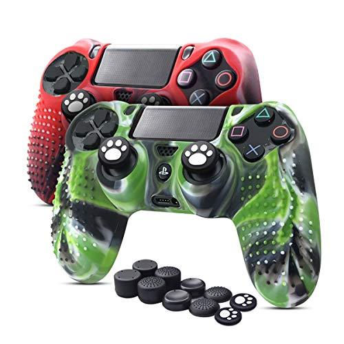 6amLifestyle Funda Protectora Antideslizante de Silicona para Mando PS4, Carcasa para Sony PS4 / PS4 Pro / PS4 Slim Controller (Rojo + Verde 2 Fundas de Mando PS4 + 10 Thumb Grips PS4)