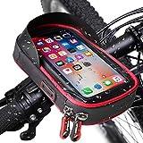 Bolsa para Manillar de Bicicleta, Soporte Movil Bicicleta con Pantalla Táctil Sensible 175 x 90mm 360° Rotación Impermeable Bolsa Telefono Bicicleta MTB para iPhone11/8Plus Huawei Mate Galaxy (Rojo)