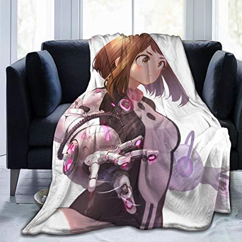 QUEMIN for Wife Trendy Fleece Bed Blankets, HeroAca Bnha Anime Ochaco Uraraka Ochako Halloween Throw Blankets, Wrinkle-Resistant Super Cozy Comfy Blanket Fit Kids Chair Preschool 60x50 Inch