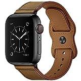 Aottom Correa para Correas Apple Watch 44mm 40mm Cuero Genuino Correa de Repuesto Compatible con Hombres Reloj Correa Apple Watch SE Series 6 Series 5 Series 4 (44mm) Series 3/2/1 (42mm)