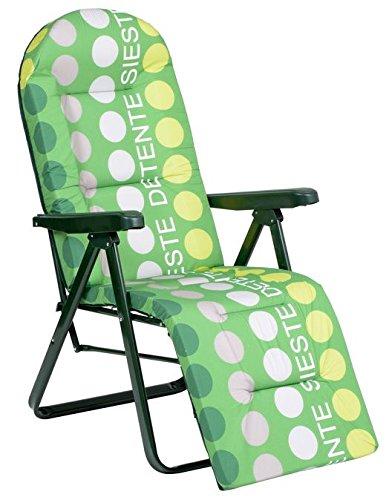 Alco M283229 - Tumbona relax 5 posiciones acero verde rayas