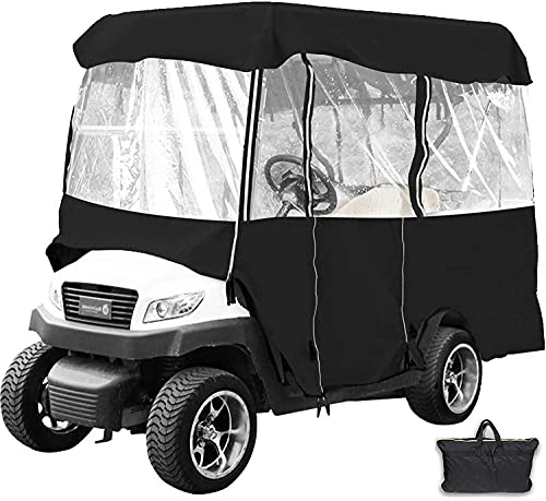 Happybuy Golf Cart roof up to 79' L Golf Cart Covers 4 Passenger Premium Tight Weave Ezgo Golf Cart Accessories Travel 4-Sided Fits Club Car(Black 011)