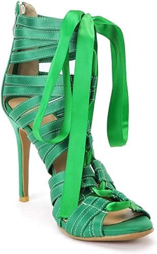XSPDX Sandales à Talons pour Femmes Stilettos Sexy en Satin Satin à Lacets avec Bride à la Cheville Chaussures habillées pour la Noce et la soirée,vert,45EU  authentique