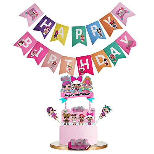 L-O-L Birthday Banner Party Supplies Decorations, Pink Cake topper Decorations for Baby Theme Party Cute Baby Theme Party Decorations(JL02)