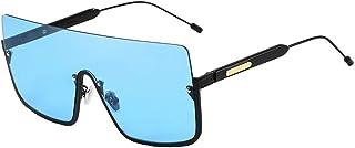 MEIHAOWEI - Gafas de sol cuadradas extragrandes Semi-Sin montura grande Marco grande Mujeres Hombres Nuevas gafas graduadas Lente plana UV400 C4