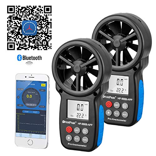 HOLDPEAK HP-866B-APP Digital Anemometer Handheld Wind Speed Meter with Wireless Bluetooth Connect for Measuring Air Volume Wind Speed Temperature for Sailing Flying Hiking and Shooting (2 Packs)