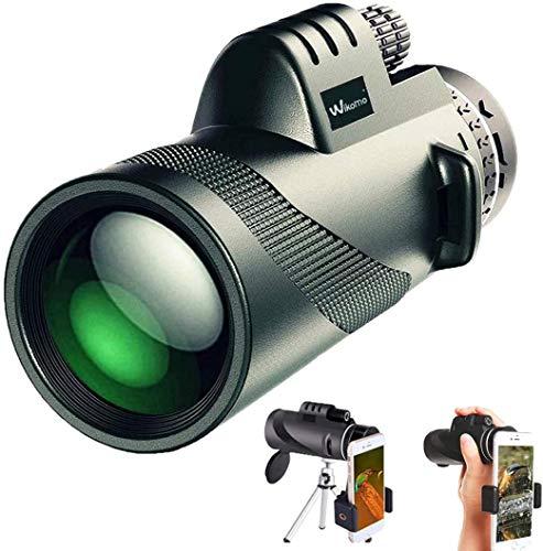 Monokulare Teleskope, Monokular 40X60 FMC Prisma Wasserdicht monokular-Teleskope mit Smartphone Adapter Stativ für Vogelbeobachtung, Wandern Sightseeing, Konzert Ballspiel, Camping