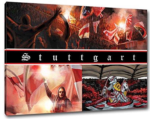 Ultras Stuttgart Collage, Bild auf Leinwand Panorama, fertig gerahmt, 120 x 80 cm