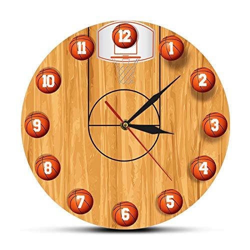 Relojes de Pared Diseño de cancha de Baloncesto Reloj de Pared silencioso sin tictac para Sala de Estar Baloncesto Arte Deportivo Decoración del hogar Niños Reloj de Pared para habitación de niños