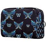 Neceseres para Maquillaje de niños Mariposa Insecto Azul Animales Bonitos Bolsa de Almacenamiento de Viaje de Impresa Personalizada 18.5x7.5x13cm