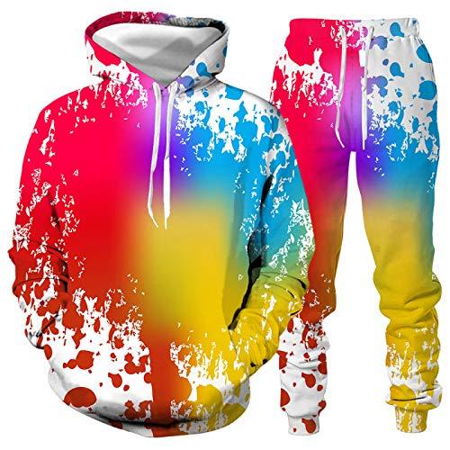 DREAMING-Otoño e invierno camiseta de manga larga + pantalón traje 3D splash ink impresión digital pareja ropa jersey con capucha top de manga larga + pantalón traje deportivo casual L
