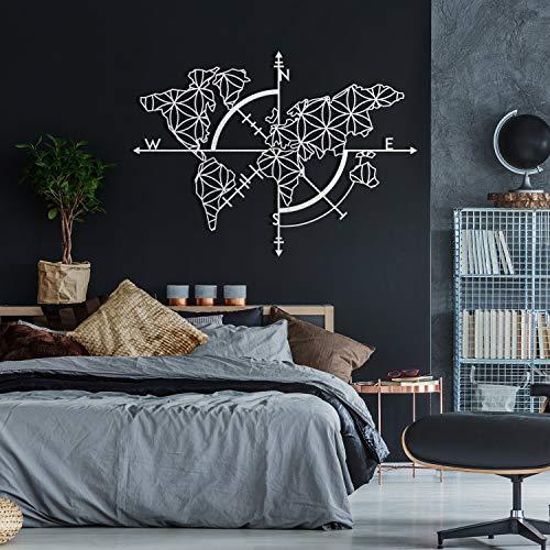 Ced454sy - Mapa del mundo de metal blanco para pared, decoración de metal para pared, diseño de mapa del mundo blanco