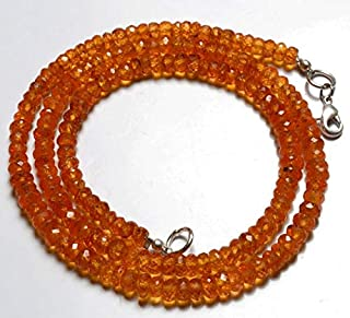 Jewel Beads Natural Beautiful jewellery 1 Strand Natural 18 inch Orange Garnet Natural Gemstone Spessartine Faceted Rondelle Beads Necklace Very Rare Orange Garnet 4 To 5 MM Code:- JBB-4285