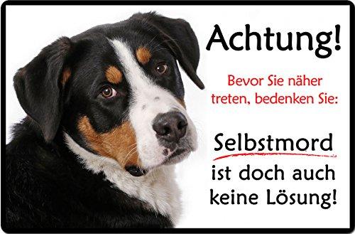 +++ Großer SCHWEIZER Sennenhund - Metall WARNSCHILD Schild Hundeschild Sign - GSS 02 T19