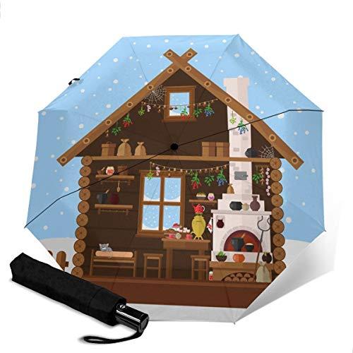 Interior de la casa de Pueblo Rusa con Paraguas de Viaje de