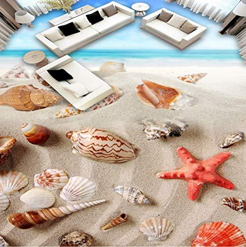 Zybnb Playa de la cáscara del piso 3d papel tapiz baño librería centro comercial auto-adhesivo piso mural