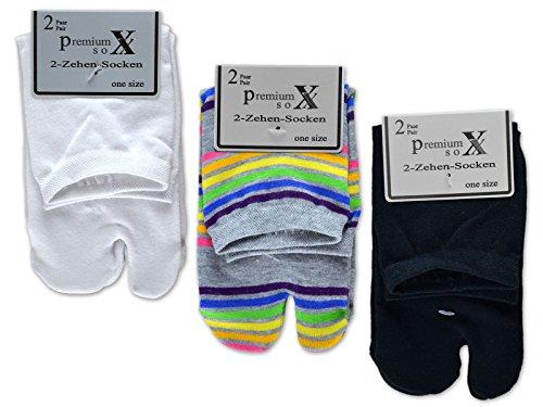 sockenkauf24 6 oder 12 Paar Zwei Zehensocken für Flip Flops Tabi Socken Damensocken (35-42/6 Paar, Farbmix)