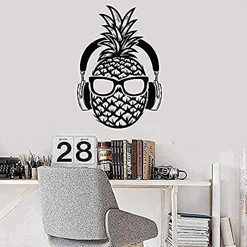 Pegatinas De Pared Calcomanías Creativas Auriculares De Pino Creativos Gafas De Sol Adolescentes Diversión Dormitorio Música Mural De Aula 42X60Cm