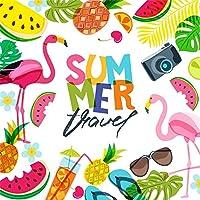 GooEoo 8×8フィート夏の旅行ビニール写真の背景漫画かわいいフラミンゴ熱帯の葉夏の果物カメラ飲料イラスト背景夏のパーティーの壁紙スタジオの小道具
