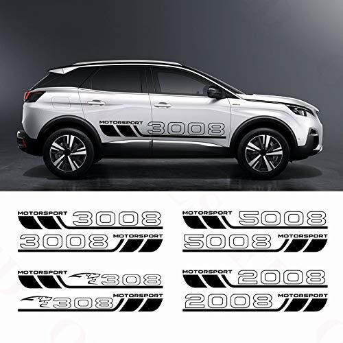 HLLebw Auto Seitenstreifen Seitenaufkleber Aufkleber, for Peugeot 308 3008 2008 5008