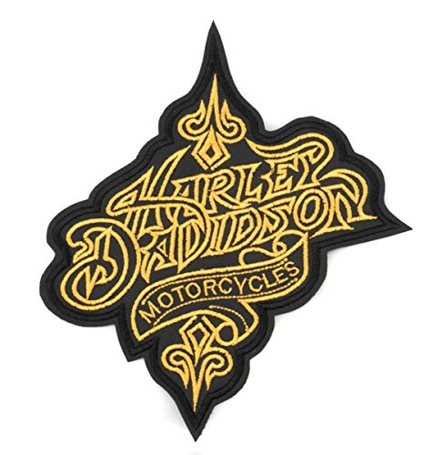 GZM Aufnäher Stickerei Replica Harley Davidson Goldbuchstaben 21 x 17,5 cm mit Thermokleber für Weste und Jacken Biker