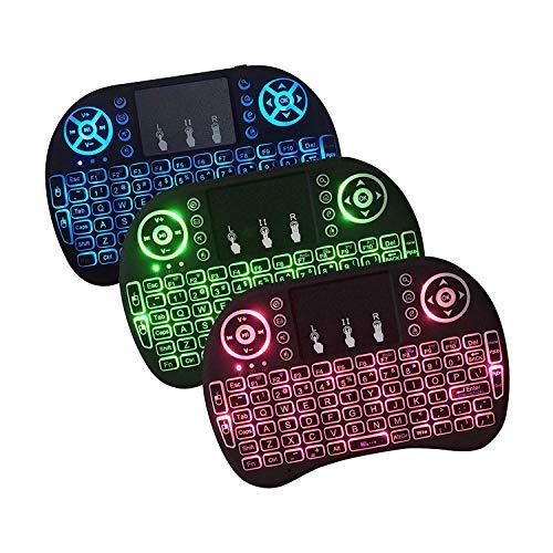 GECENinov Mini Wireless Keyboard mit RGB Backlit, 2.4GHz Wireless Mini Keyboard Rechargeable Controller mit Touchpad Maus Combo von Gecen, kompatibel mit Android TV Box, IPTV, HTPC, Smart TV, PC usw.