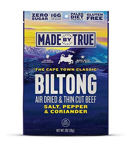 Made by True - Biltong - Cape Town Classic with Salt, Pepper & Coriander, Seasoned & Air-Dried U.S. Beef, Paleo & Whole30 Friendly, 2 oz, (3 Pack)