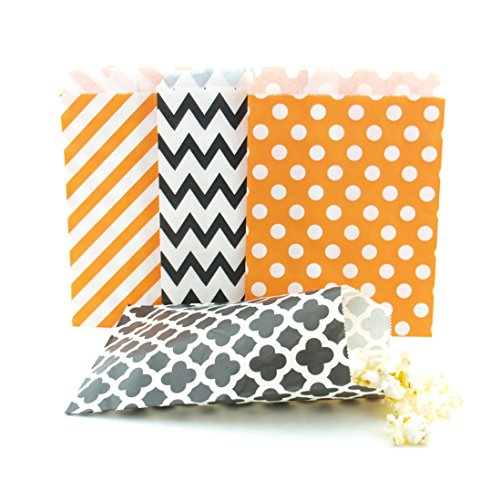 Halloween Candy Bags (100 Pack) - Black & Orange Party Favor Bags, Trick-or-Treat Paper Bags & Halloween Party Decorations/Party Favors