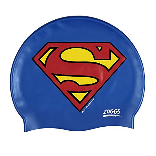 Zoggs Kinder Superman-Silicone Cap Badekappe, Blue, One Size