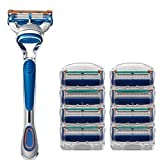 Men's 5 Blade Razor Kit,Men's Manual Fashion Shaver With Safety Refill Cartridages, 1Manual Razor Handle...