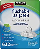 Genuine Kirkland Moist Flushable 632 Wipes Includes 2 Travel Packs