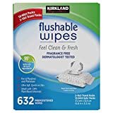 Kirkland Signature Moist Flushable Enhanced Cleansing & Freshness Ultra Soft Hypoallergenic Plant-Based Wipes - 632...