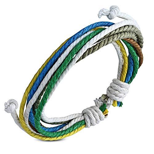 Pulsera de cuerda – marrón amarillo, verde, azul y blanco – nudo deslizante ajustable