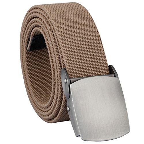 mookaitedecor Unisex Gürtel Elastischer Nylon Belt für Herren und Damen mit Automatisch Schnalle, Khaki(metallschnalle), Einheitsgröße