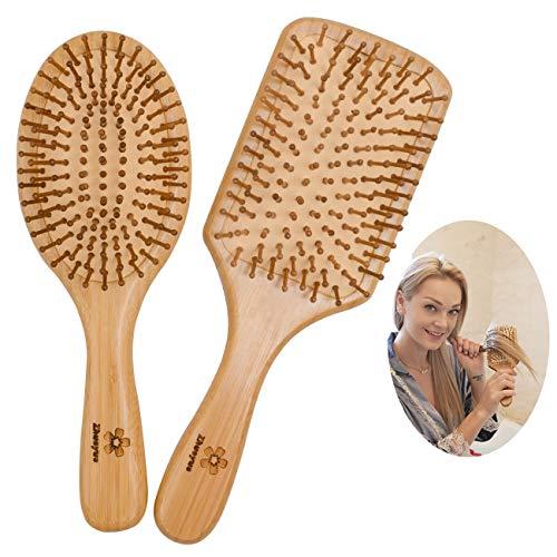 Zhuoyue Wooden Bamboo Hair Brush - Paddle Hair Brush Set with Bamboo Bristle Reduce Frizzy & Massage Scalp 2 pcs